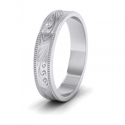 Engraved 9ct White Gold 4mm Flat Wedding Ring With Millgrain Edge