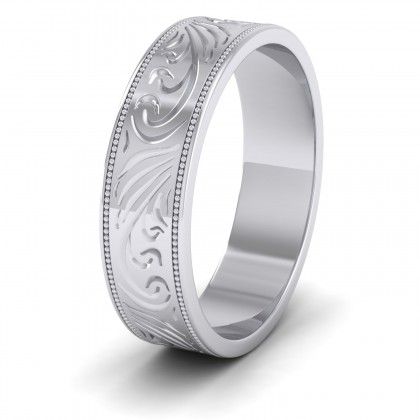 Engraved 950 Platinum 6mm Flat Wedding Ring With Millgrain Edge