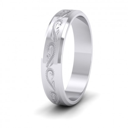 Engraved 950 Platinum 4mm Flat Wedding Ring With Bevelled Edge
