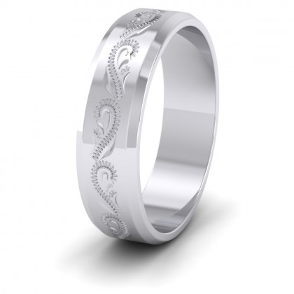Engraved 9ct White Gold 6mm Flat Wedding Ring With Bevelled Edge