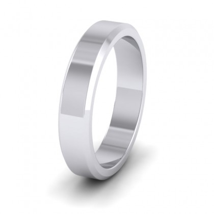 Bevelled Edge 9ct White Gold 4mm Wedding Ring