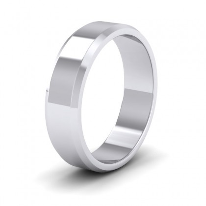 Bevelled Edge 9ct White Gold 6mm Wedding Ring
