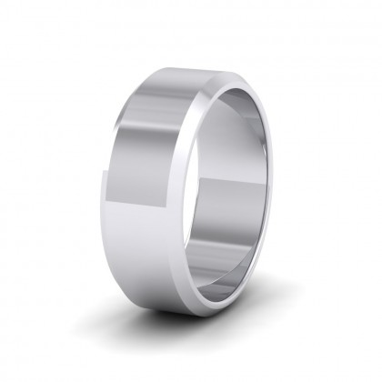 Bevelled Edge 950 Platinum 8mm Wedding Ring