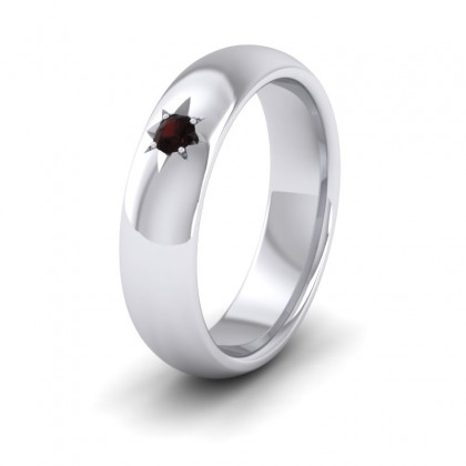 Garnet Star Set 500 Palladium 6mm Wedding Ring