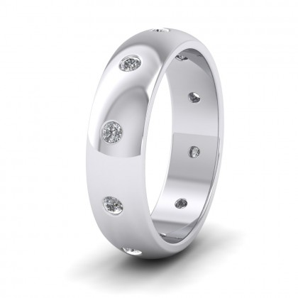 Ten Diamond Set Flush 500 Palladium 6mm Wedding Ring