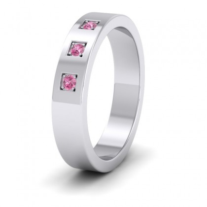 Three Pink Sapphires With Square Setting 9ct White Gold 4mm Wedding Ring
