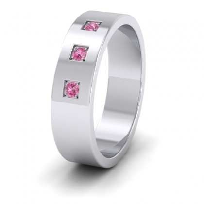 Three Pink Sapphires With Square Setting 9ct White Gold 6mm Wedding Ring
