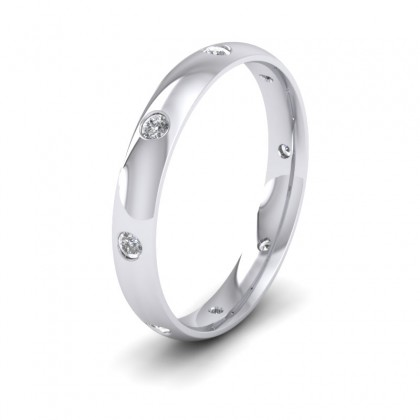 Eight Diamond Set 9ct White Gold 3mm Wedding Ring
