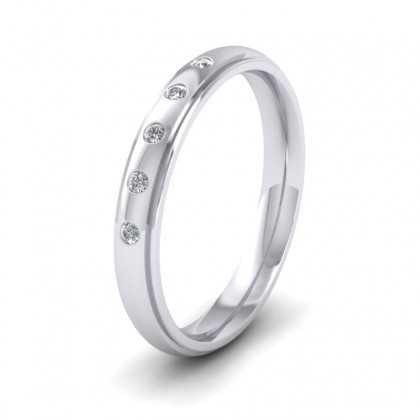 Line Pattern And Five Diamond Set 14ct White Gold 3mm Wedding Ring