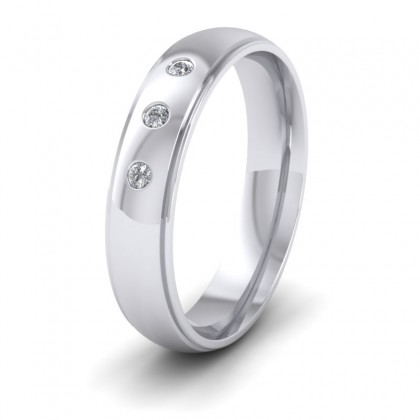 Line Pattern And Three Diamond Set 9ct White Gold 5mm Wedding Ring