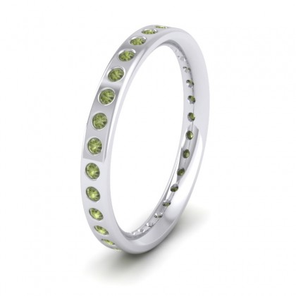 Full Green Sapphire Set 9ct White Gold 2.5mm Wedding Ring