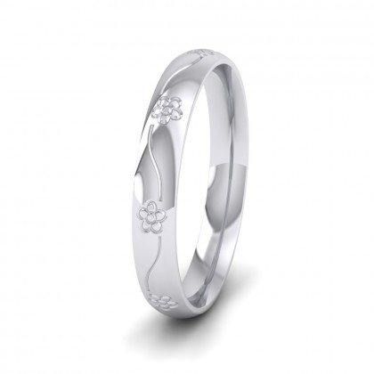 Engraved Flower 9ct White Gold 3mm Wedding Ring