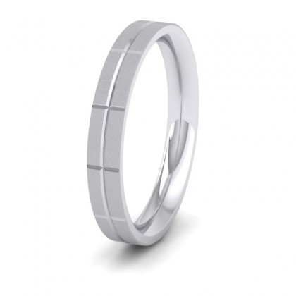 Cross Line Patterned 950 Platinum 3mm Flat Comfort Fit Wedding Ring