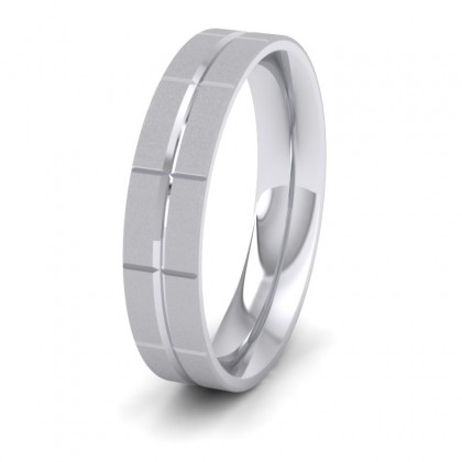 Cross Line Patterned 9ct White Gold 5mm Flat Comfort Fit Wedding Ring