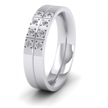 Cross Line Patterned And Diamond Set 9ct White Gold 5mm Flat Comfort Fit Wedding Ring