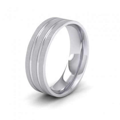 Double Groove Pattern 950 Platinum 7mm Wedding Ring