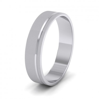 Asymmetric Line Pattern 9ct White Gold 5mm Flat Wedding Ring