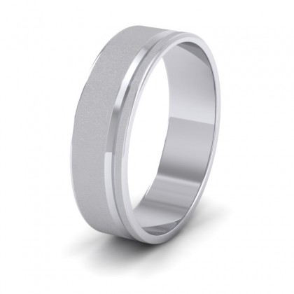 Assymetric Line Pattern 9ct White Gold 6mm Flat Wedding Ring