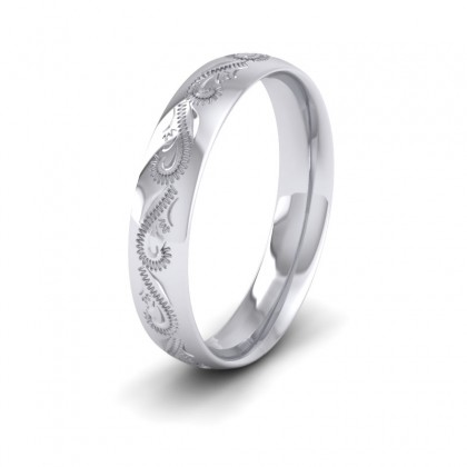 Engraved 9ct White Gold 4mm Wedding Ring