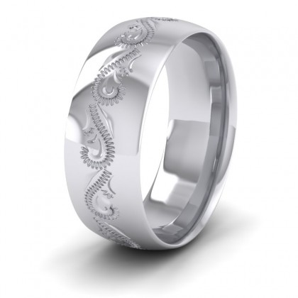 Engraved Sterling Silver 8mm Wedding Ring