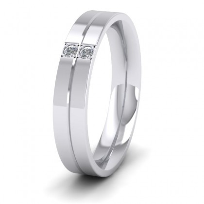 Two Diamond And Line Pattern 9ct White Gold 4mm Wedding Ring