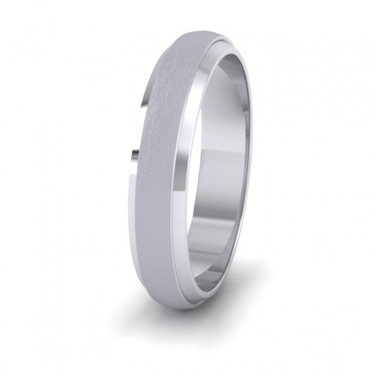 Flat Edge Patterned And Matt Finish 9ct White Gold 4mm Wedding Ring