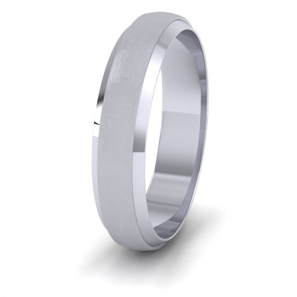 Flat Edge Patterned And Matt Finish 950 Platinum 5mm Wedding Ring