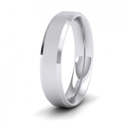 Bevelled Edge And Matt Finish Centre Flat 950 Platinum 5mm Wedding Ring