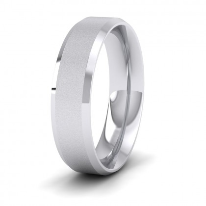 Bevelled Edge And Matt Finish Centre Flat Sterling Silver 6mm Wedding Ring