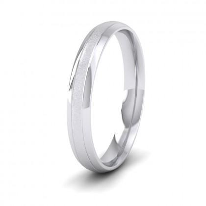 Line Shiny And Matt Finish 9ct White Gold 3mm Wedding Ring