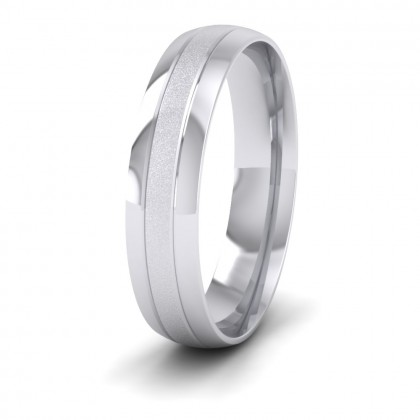 Line Shiny And Matt Finish 950 Platinum 5mm Wedding Ring