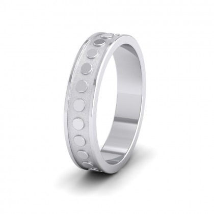 Raised Circle And Edge Patterned 9ct White Gold 5mm Wedding Ring