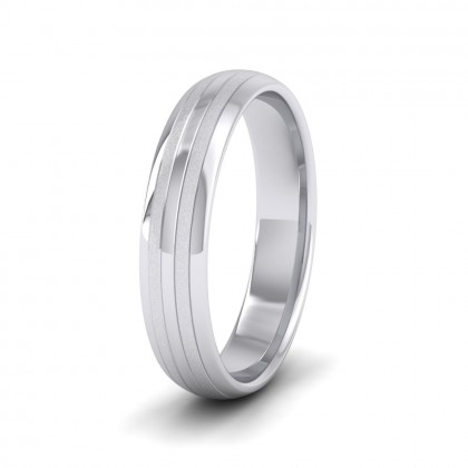 Four Line Pattern With Shiny And Matt Finish 500 Palladium 4mm Wedding Ring
