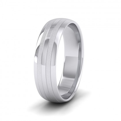 Four Line Pattern With Shiny And Matt Finish 9ct White Gold 6mm Wedding Ring