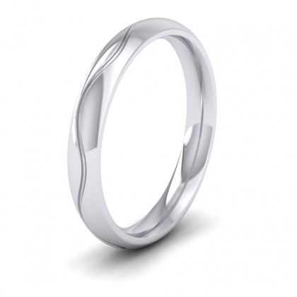Wave Patterned 9ct White Gold 3mm Wedding Ring