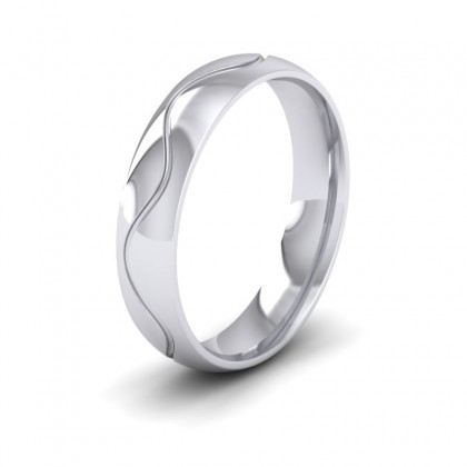 Wave Patterned Sterling Silver 5mm Wedding Ring