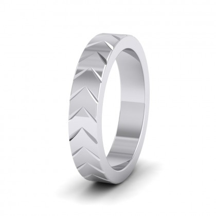 Chevron Pattern 9ct White Gold 4mm Wedding Ring