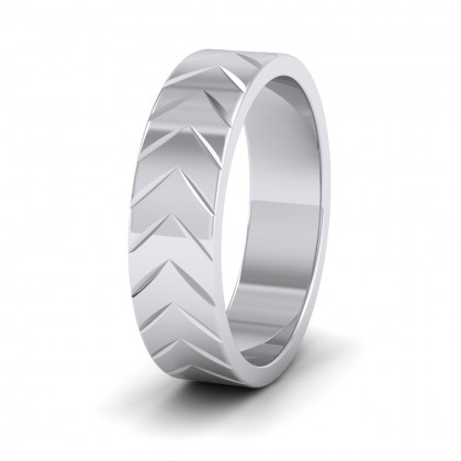Chevron Pattern 9ct White Gold 6mm Wedding Ring