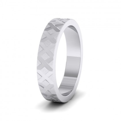 Cross Pattern 9ct White Gold 4mm Wedding Ring