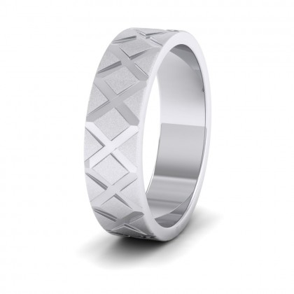 Cross Pattern 9ct White Gold 6mm Wedding Ring