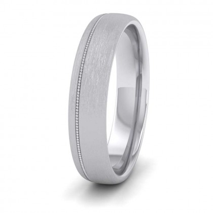 Asymmetric Millgrain 9ct White Gold 5mm Wedding Ring