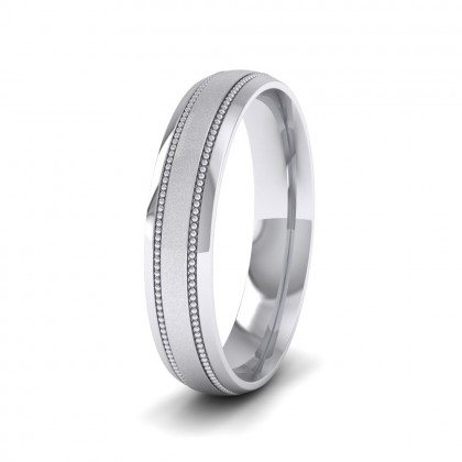 Millgrain And Contrasting Matt And Shiny Finish 500 Palladium 4mm Wedding Ring
