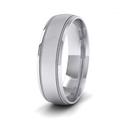 Millgrain And Contrasting Matt And Shiny Finish 9ct White Gold 6mm Wedding Ring