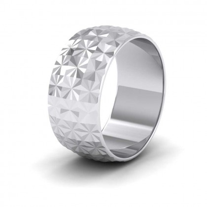 Pineapple Pattern 9ct White Gold 10mm Wedding Ring