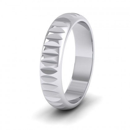 Cut Leaf Across Pattern 950 Platinum 5mm Wedding Ring