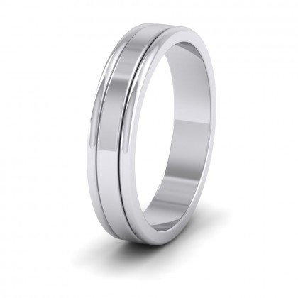 Rounded Edge Grooved Pattern Flat 9ct White Gold 4mm Flat Wedding Ring