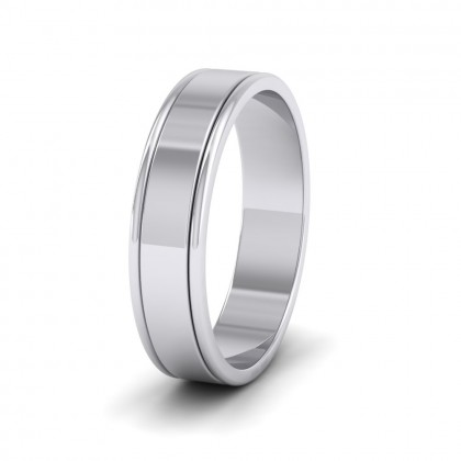Rounded Edge Grooved Pattern Flat 9ct White Gold 5mm Flat Wedding Ring