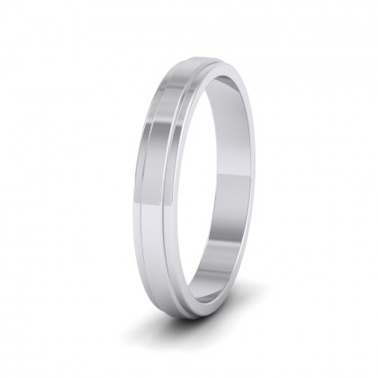 Stepped Edge Pattern Flat 9ct White Gold 3mm Flat Wedding Ring