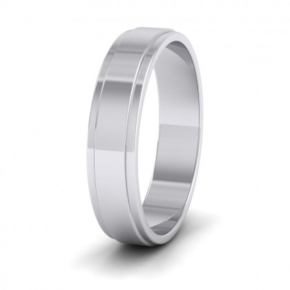 Stepped Edge Pattern Flat 9ct White Gold 5mm Flat Wedding Ring