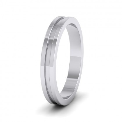 Flat Grooved 9ct White Gold 3mm Flat Wedding Ring
